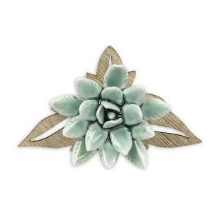 Bomboniera aloe verde in porcellana e foglie in legno-0