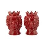 Teste di moro con corona decoro futta rossa H 10 cm -0