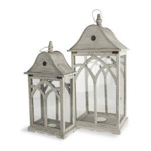 Set 2 lanterne in legno tortora-0