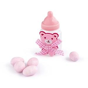 portaconfetti biberon con orsetto rosa