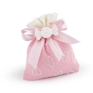 sacchetto rosa cuori con gessetto caramella