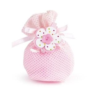 sacchetto rete tulle rosa con molletta fiore