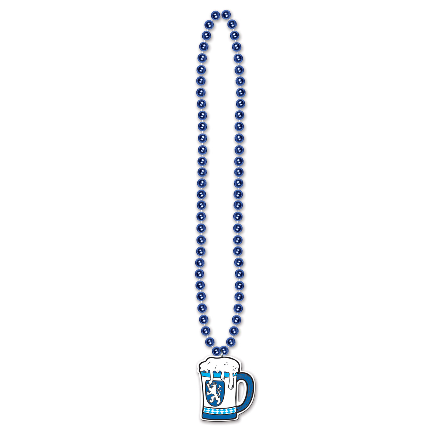 Blue Beads With Beer Stein Medallion