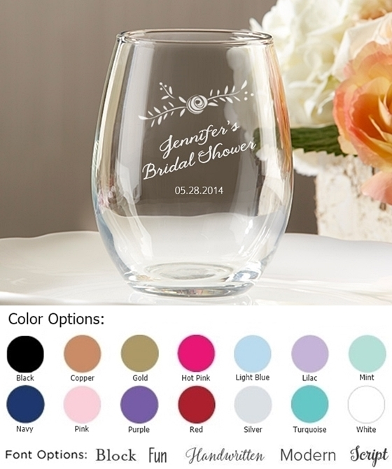 Rustic Bridal Shower Personalized 9 Oz Stemless Wine Glasses Personalized Gifts And Party Favors