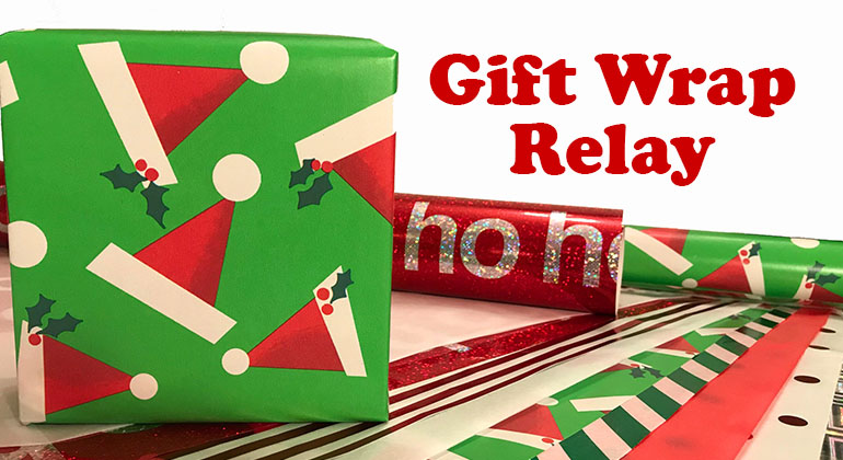 Gift Wrap Relay Christmas Party Game