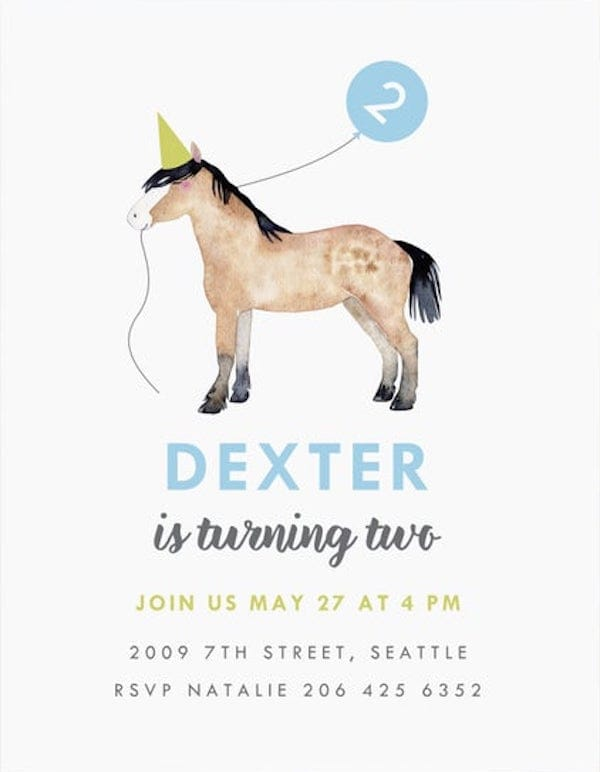 horse theme invitations for all