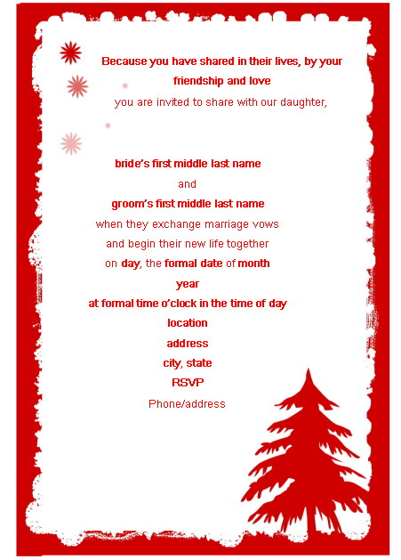 Sample Holiday Invitation Christmas Invitation Template Winter – Family Party Invitation Wording