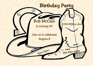 country and western party invitations