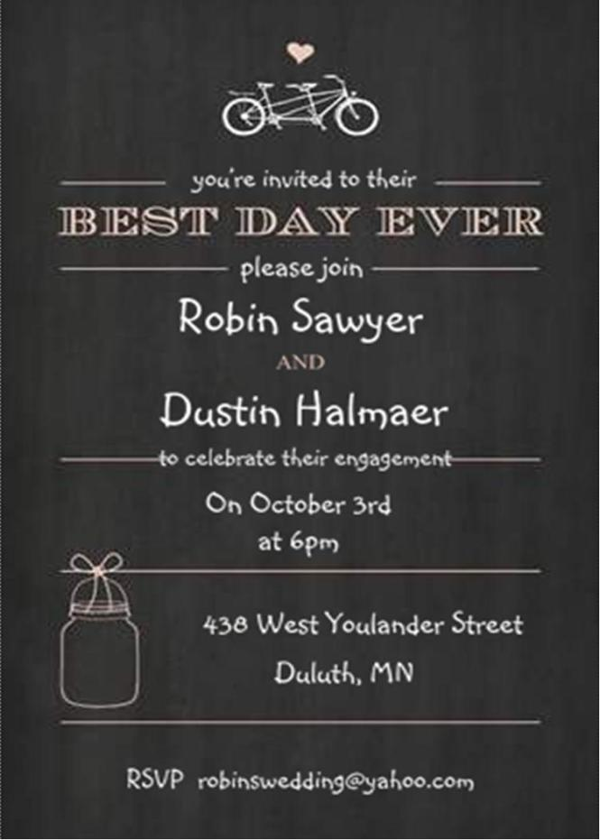 Bicycle Built For Two And Mason Jar Chalkboard Engagement Party Invitations