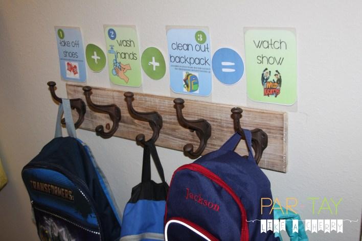 hallway backpack hooks