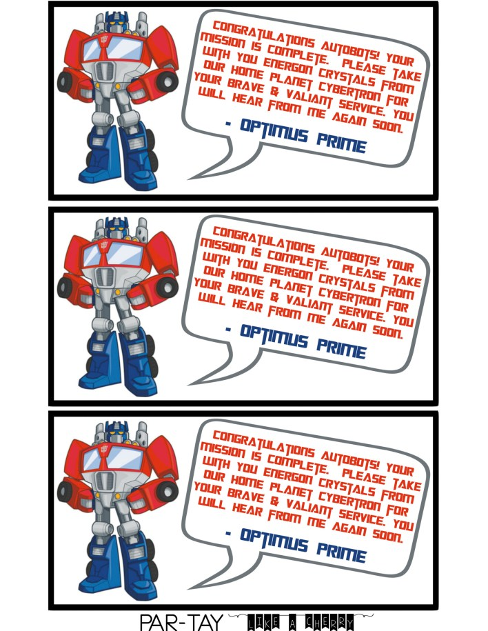 rescue bots party favor tags