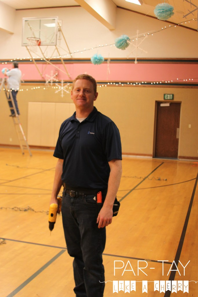 hanging lights in gym for polar express party