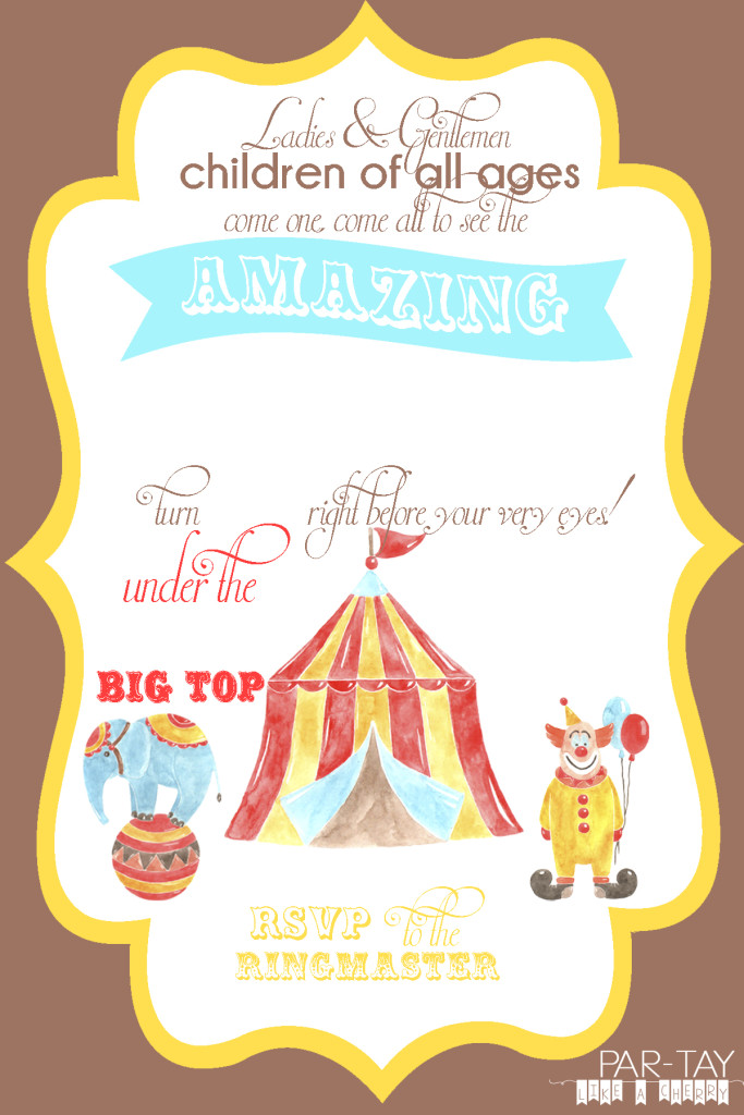free circus birthday invitation party