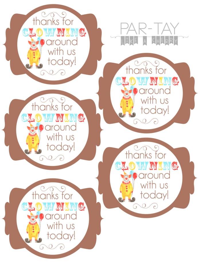 free printable circus birthday party favor tags