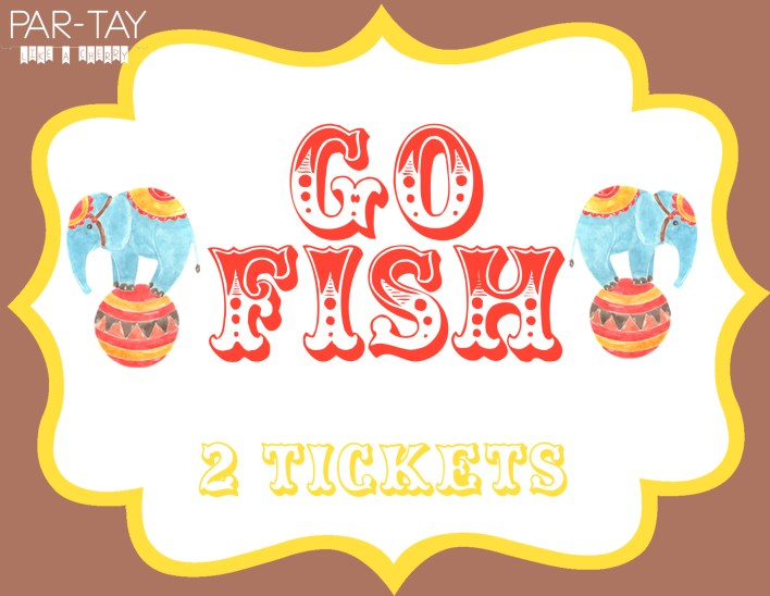 go fish free printable sign for circus or carnival party game