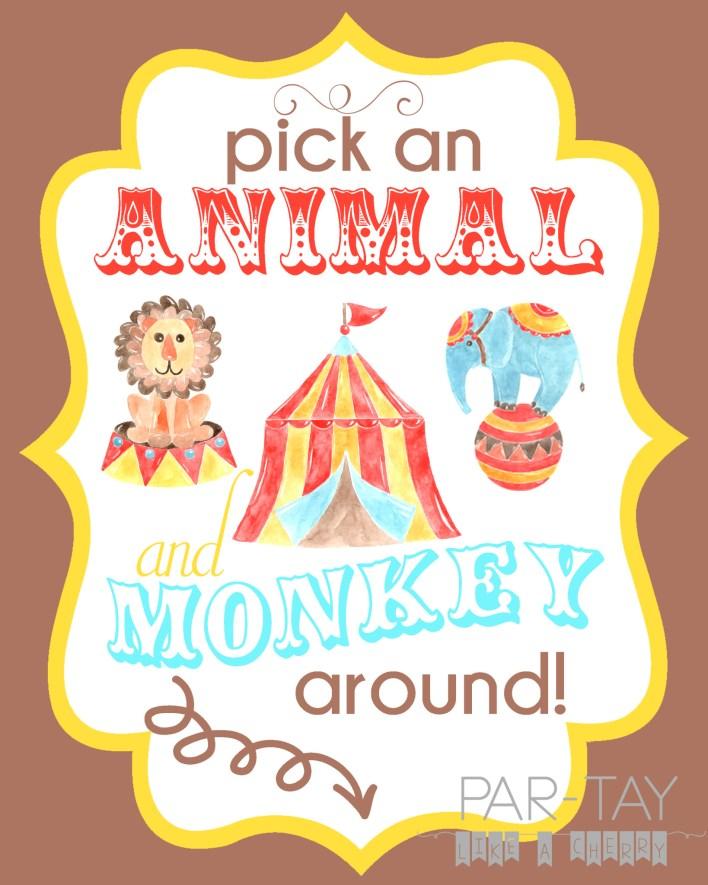 free printable circus birthday party sign