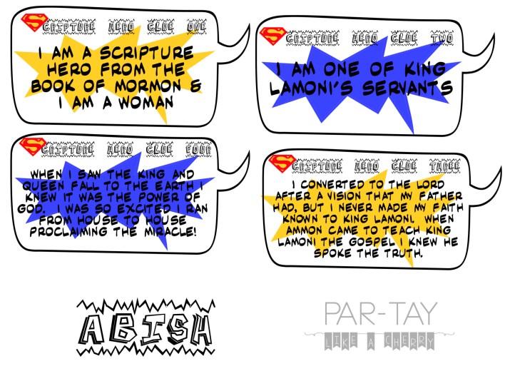 Abish scripture hero clue cards