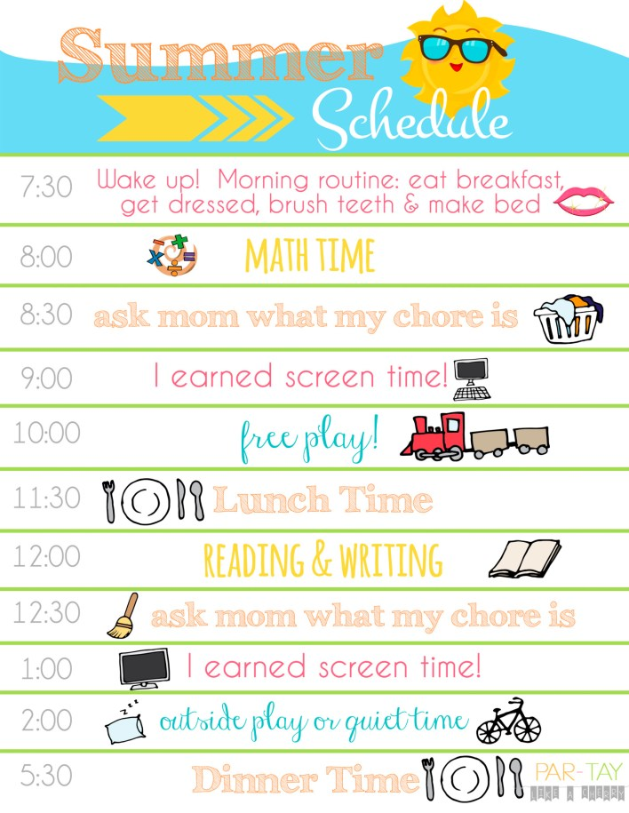 summer daily schedule printable
