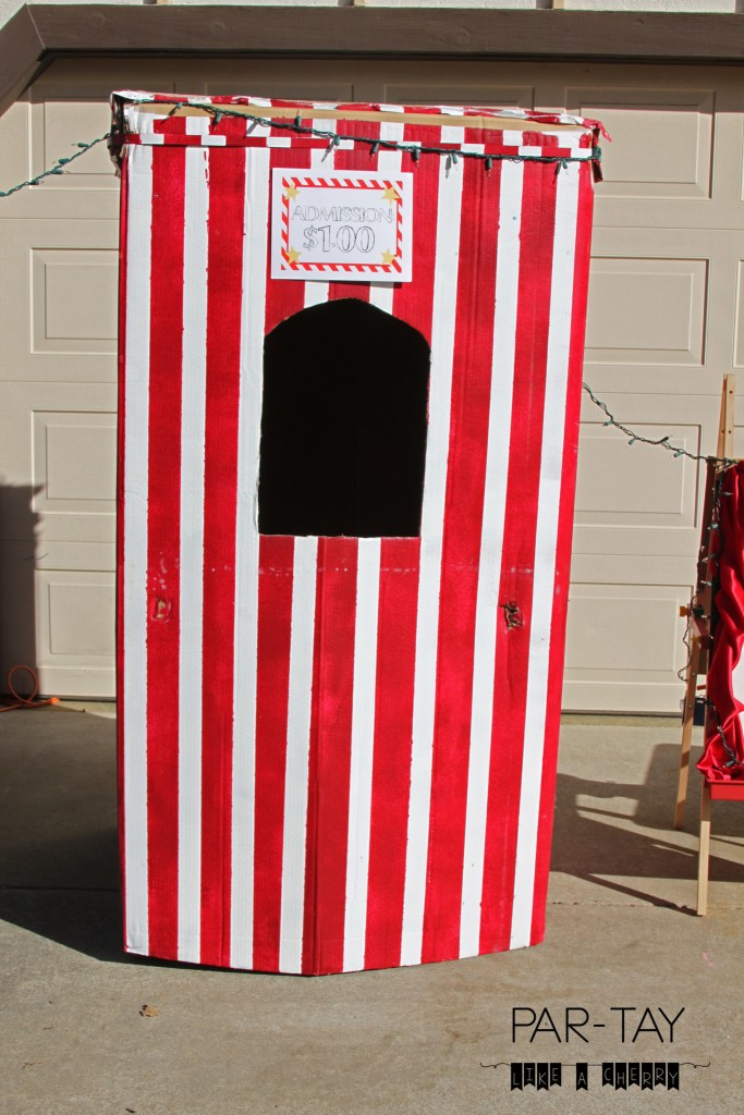 drive in movie party ticket booth made from a refridgerator box