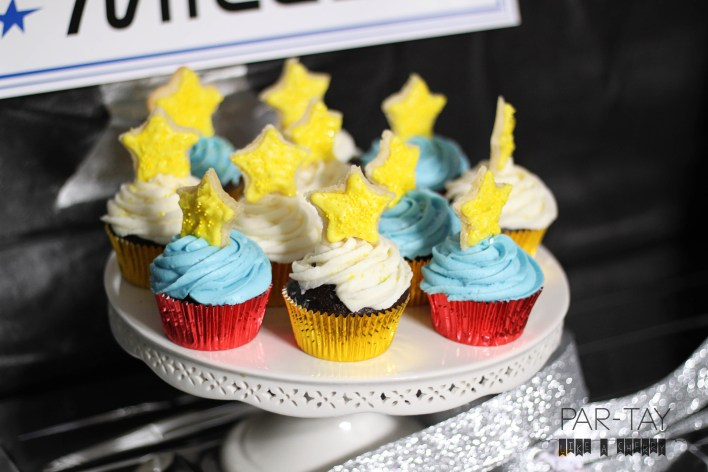 star cupcakes space party dessert table