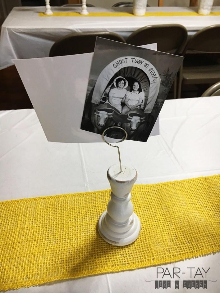 milestone birthday centerpiece photo holders