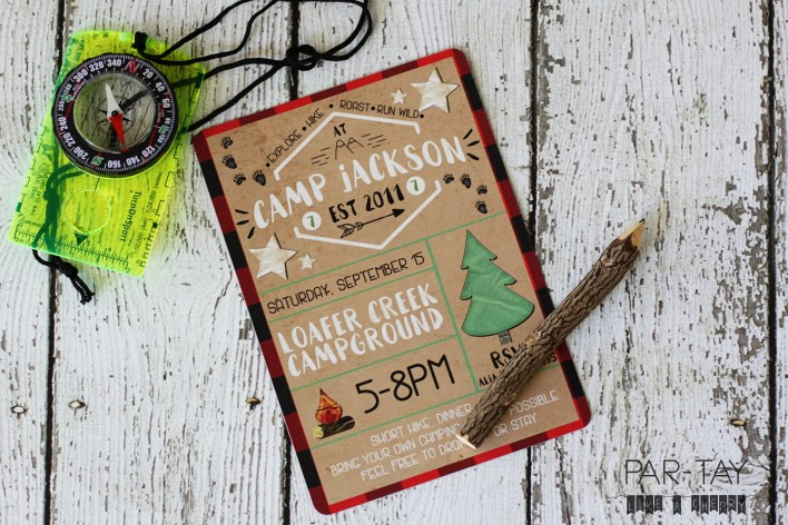free camping adventure party invitation template