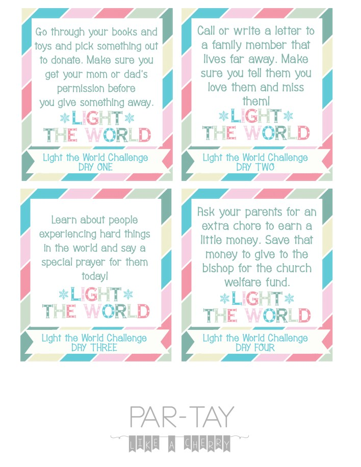 light the world 2018 challenge cards for your kids