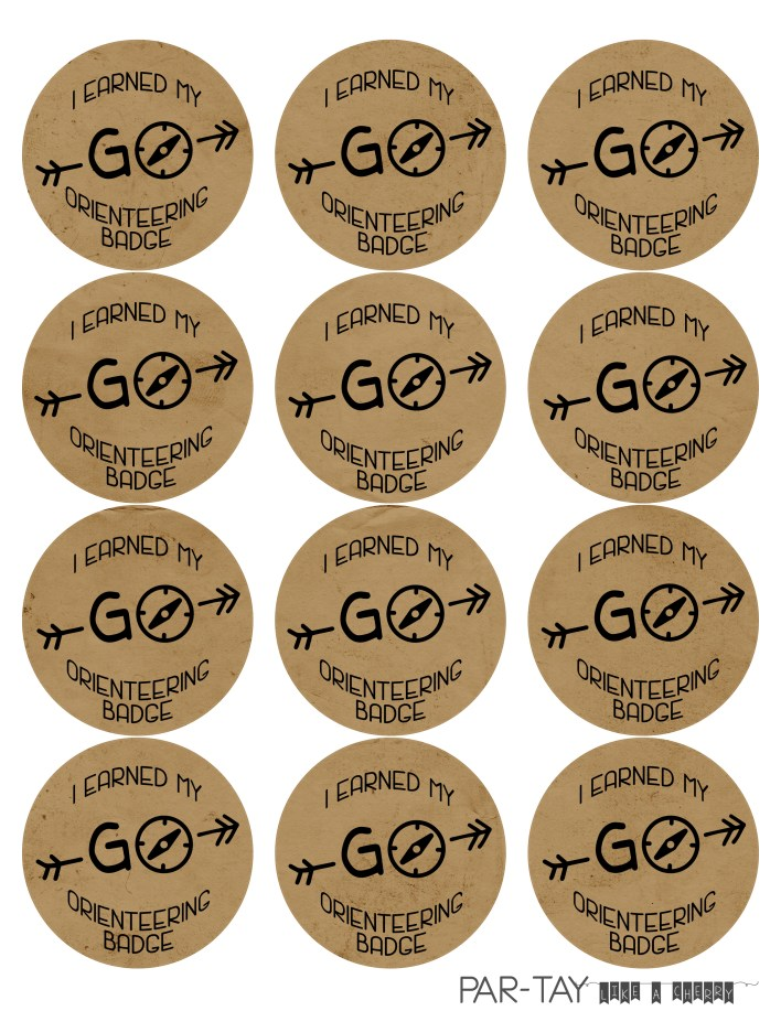 orienteering badge free printable perfect for a camping party