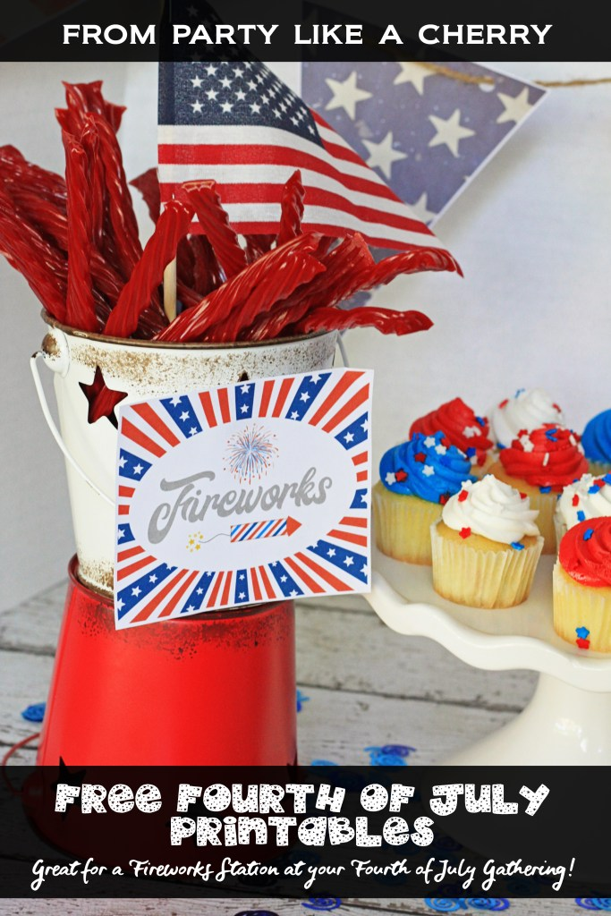 Free Fourth of July Printables, great for a fireworks station at your Forth of July Gathering or just to decorate your home! Set up a table for the kiddos with sparklers, poppers, glow sticks, twizzlers and use these printables to tie it all together!