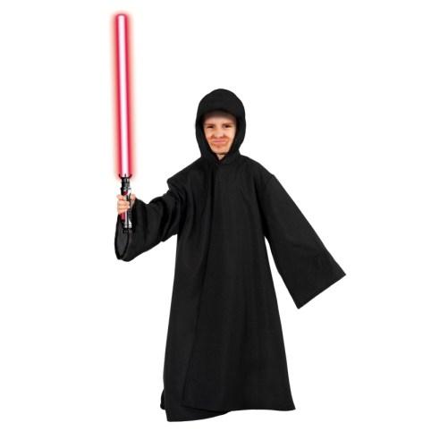Black cloak/robe with hood 116 cm