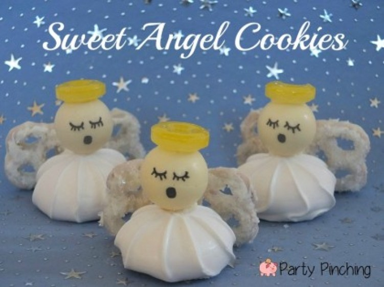 angel cookies, easy christmas cookies, lindt lindor truffles, cute angels, christmas cookies for kids