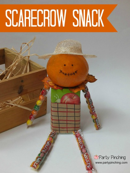 scarecrow snack, harvest snack, halloween treat, fall autumn dessert for kids, easy halloween dessert craft