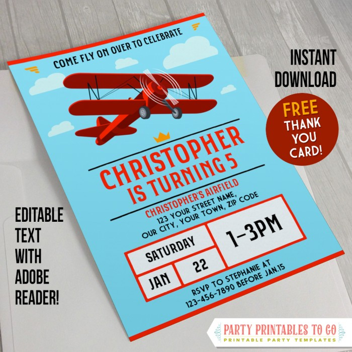 vintage airplane party invitation with free thank you card