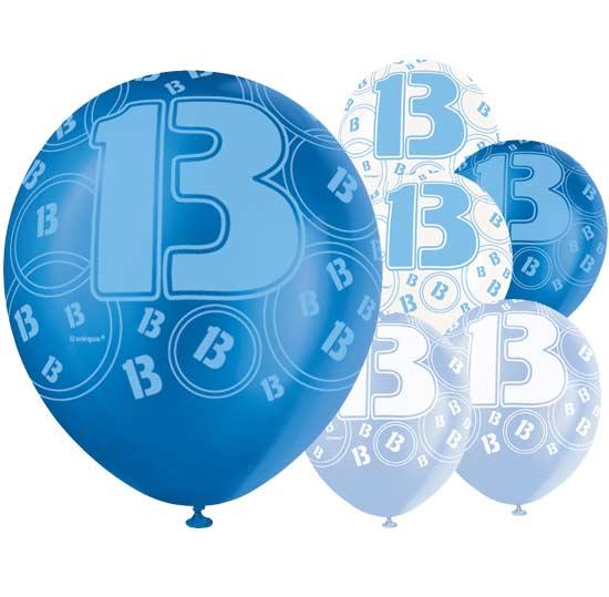 Blue Glitz Age 13 Latex Balloons 12 Pack 6