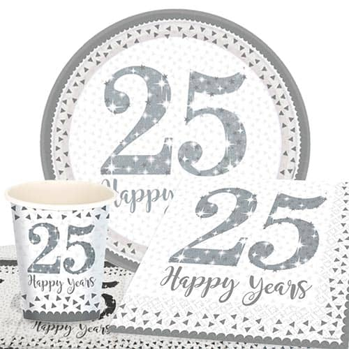 25th Silver Wedding Anniversary 8 Person Value Party Pack Partyrama
