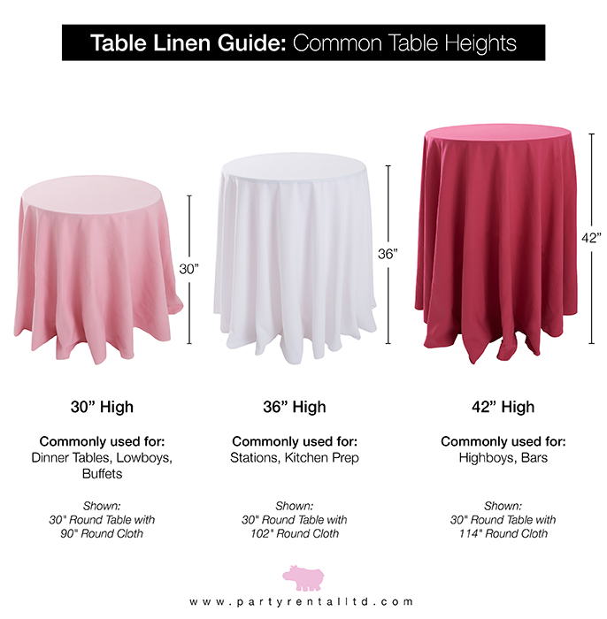 let s talk linens the ultimate guide to table linen sizes party rh partyrentalltdblog com wedding linens cocktail table cocktail table linens size