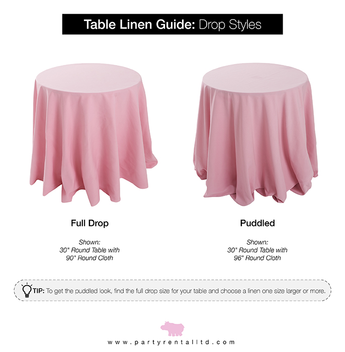 Ultimate Guide To Table Linen Sizes, What Size Tablecloth For A 72 Rectangular Table