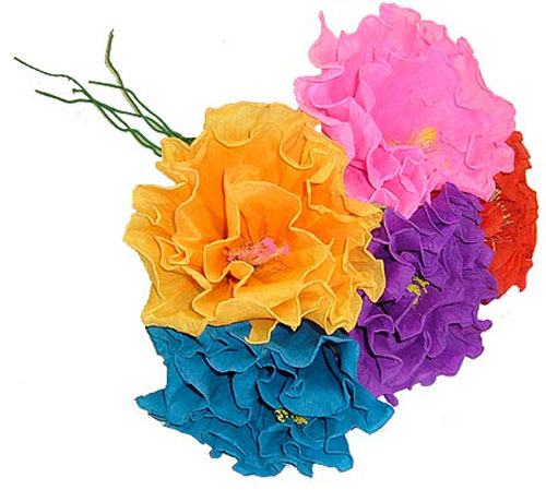 Brightly Colored Handmade Mexican Paper Flowers   Fiesta Party     Quick View