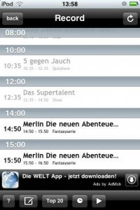 OnlineTVRecoder iPhone App