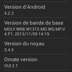 Version d'Android TrueSmart Omate