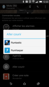 Choix de l'application sportive Moto 360