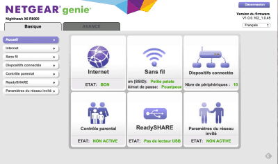 Interface Netgear Genie