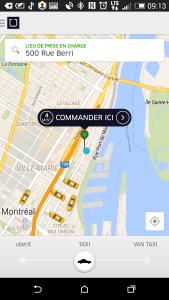 Uber géolocalisation Montréal