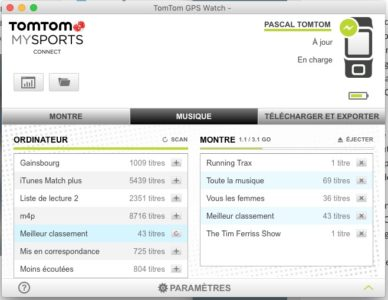 TomTom Spark Cardio Music interface application