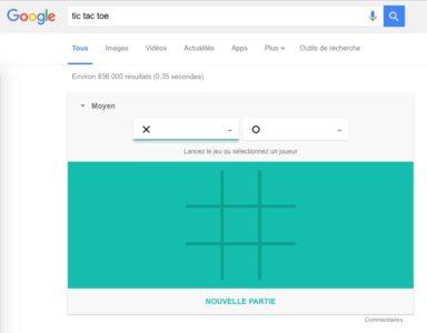Google Tic tac Toe morpion recherche