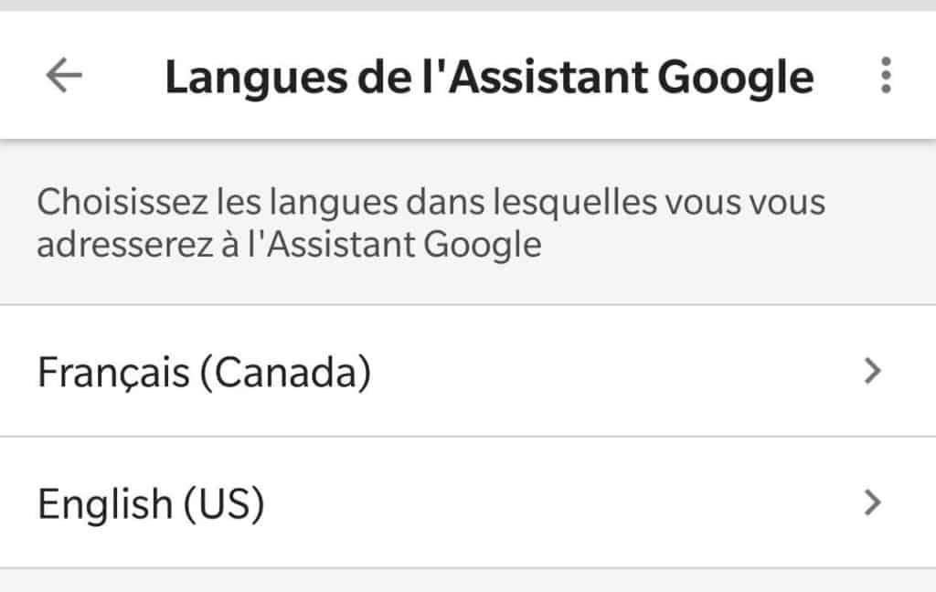 Google Home deuxième langue seconde english french anglais français