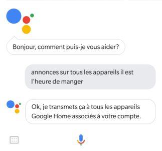 truc assistant Google Home intercom diffuser message mégaphone