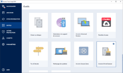 Acronis True Image 2019 Outils options installation critique essai