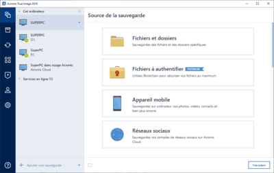 Acronis True Image 2019 sauvegarde backup fichiers médias sociaux appareils mobiles