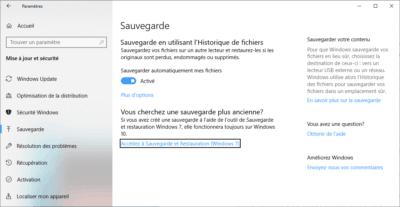 Sauvegarde de fichiers Windows 10 Time Machine gratuit